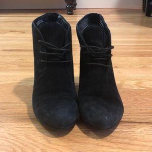 Clarks Black suede wedge booties